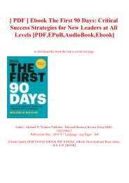 [ PDF ] Ebook The First 90 Days Critical Success Strategies for New Leaders at All Levels [PDF EPuB AudioBook Ebook]
