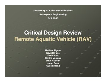 RAV - Aerospace Engineering Sciences Senior Design Projects ...