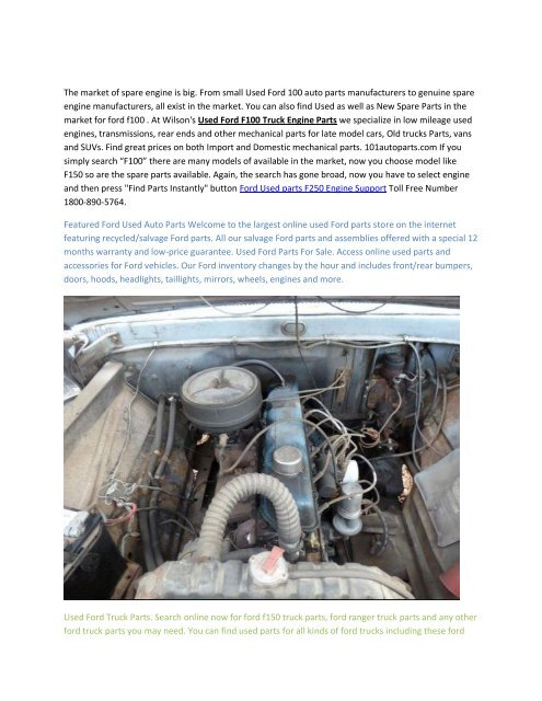 Truck Parts For Sale >> Ford F100 Engine Used Auto Parts Sale 1800 890 5764