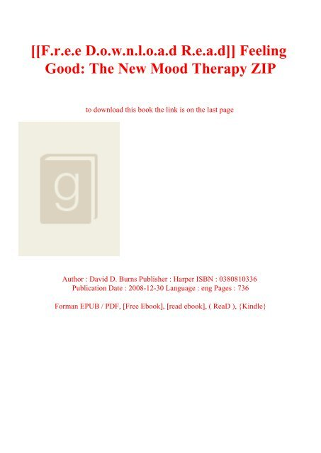 feeling good david burns pdf free download
