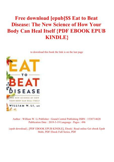 Free Download Epub Eat To Beat Disease The New Science
