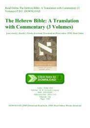 Read Online The Hebrew Bible A Translation with Commentary (3 Volumes) P.D.F. DOWNLOAD