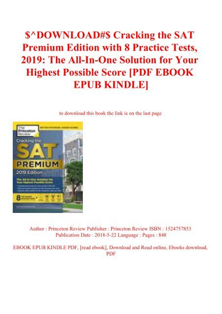 Download Cracking The Sat Premium Edition With 8 Practice Tests 2019 The All In One
