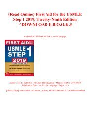 DOWNLOAD EBOOK First Aid for the USMLE Step 1 2019 Twenty-ninth