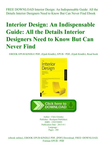 Free Download Interior Design An Indispensable Guide All The Details Interior Designers Need To Know But