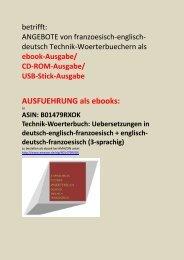 franzoesisch-englisch-deutsch Technik-Woerterbuch: als ebook/ CD-ROM/ USB-Stick