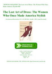 ^DOWNLOAD@PDF# The Lost Art of Dress The Women Who Once Made America Stylish PDF
