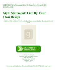{EBOOK} Style Statement Live By Your Own Design P.D.F. DOWNLOAD