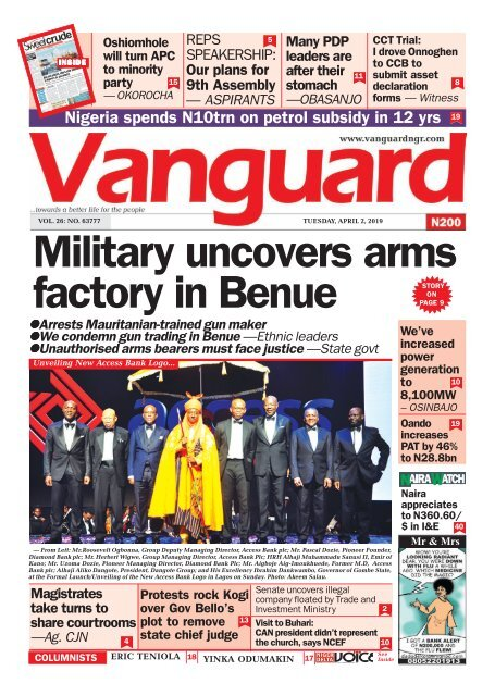 02042019 - Military uncovers arms factory in Benue