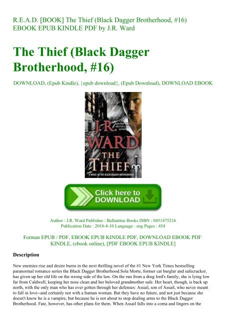 R E A D  [BOOK] The Thief (Black Dagger Brotherhood #16) EBOOK EPUB