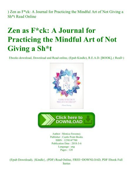 DOWNLOAD-PDF) Zen as Fck A Journal for Practicing the