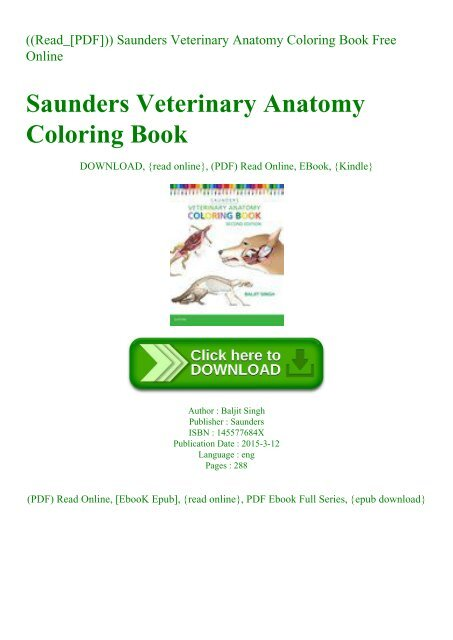 Read_[PDF])) Saunders Veterinary Anatomy Coloring Book Free Online
