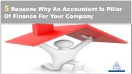 5 Reasons Why An Accountant Is Pillar Of Finance For Your Company