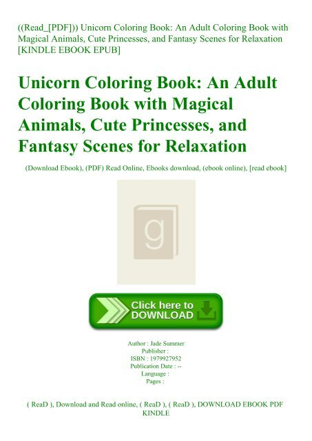 Read Pdf Unicorn Coloring Book An Adult Coloring Book With Magical Animals Cute Princesses
