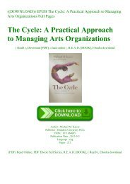 ((DOWNLOAD)) EPUB The Cycle A Practical Approach to Managing Arts Organizations Full Pages