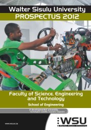 School of Engineering prospectus 2012 - Walter Sisulu University