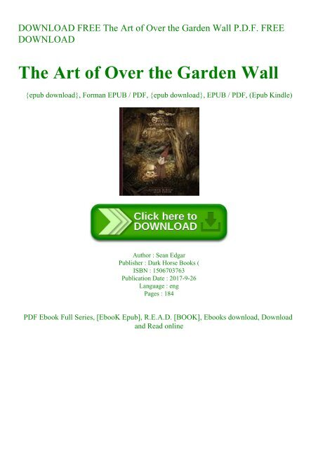 Download Free The Art Of Over The Garden Wall P D F Free Download
