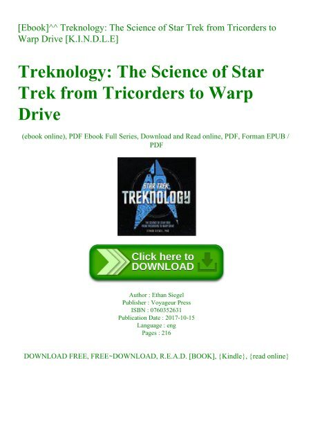 Ebook]^^ Treknology The Science of Star Trek from Tricorders to Warp