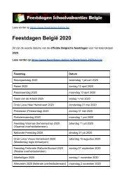Feestdagen 2020 Belgie - Exacte datums op kalender