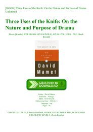 [BOOK] Three Uses of the Knife On the Nature and Purpose of Drama Unlimited