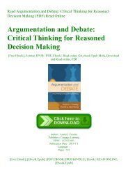 Read Argumentation and Debate Critical Thinking for Reasoned Decision Making (PDF) Read Online