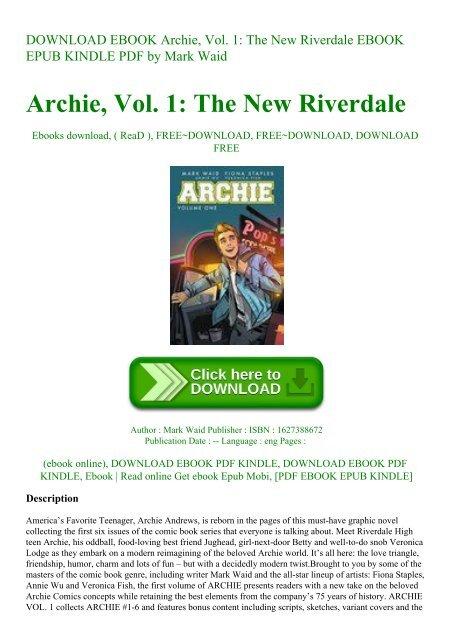 Download Ebook Archie Vol 1 The New Riverdale Ebook Epub