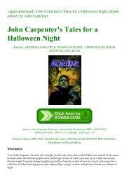 {epub download} John Carpenter's Tales for a Halloween Night (ebook online) by John    Carpenter