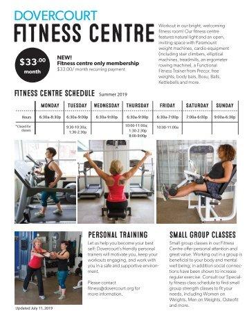 Dovercourt fitness centre membership flyer Winter 2019