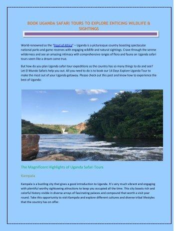 BOOK UGANDA SAFARI TOURS TO EXPLORE ENTICING WILDLIFE