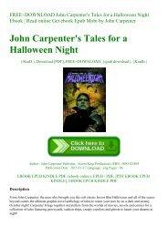 FREE~DOWNLOAD John Carpenter's Tales for a Halloween Night Ebook  Read online Get ebook Epub Mobi by John    Carpenter