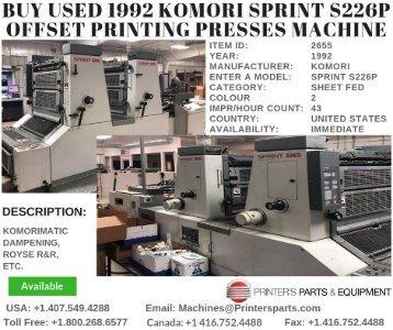 Buy Used 1992 Komori Sprint S226P Offset Printing Presses Machine