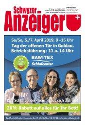 Schwyzer Anzeiger – Woche 14 – 5. April 2019