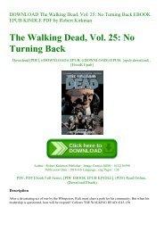 DOWNLOAD The Walking Dead  Vol. 25 No Turning Back EBOOK EPUB KINDLE PDF by Robert Kirkman