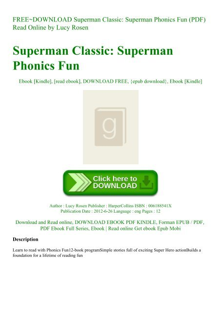 FREE~DOWNLOAD Superman Classic Superman Phonics Fun (PDF ...