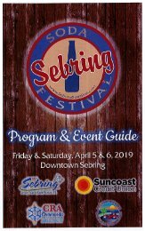 2019 Sebring Soda Festival Program & Event Guide