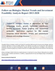 Follow-on Biologics Market Trends and Investment Feasibility Analysis by 2028