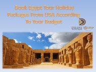 Book Egypt Tour Holiday Packages From USA According To Your Budget