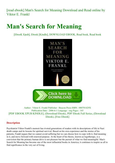 mans search for meaning epub free