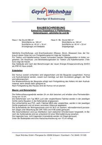 BAUBESCHREIBUNG - Geyer Wohnbau GmbH
