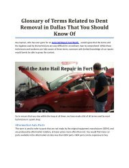 Glossary of Terms Related to Dent Removal in Dallas That You Should Know