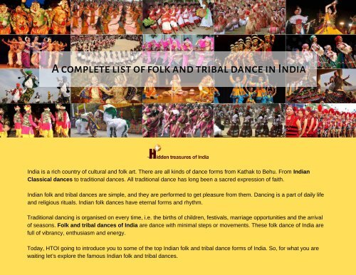 A complete list of folk and tribal dance in India