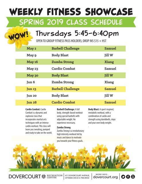 Dovercourt Fitness showcase classes Spring2019