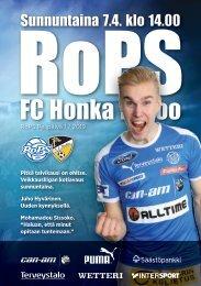 Käsiohjelma RoPS - FC Honka 7.4.2019