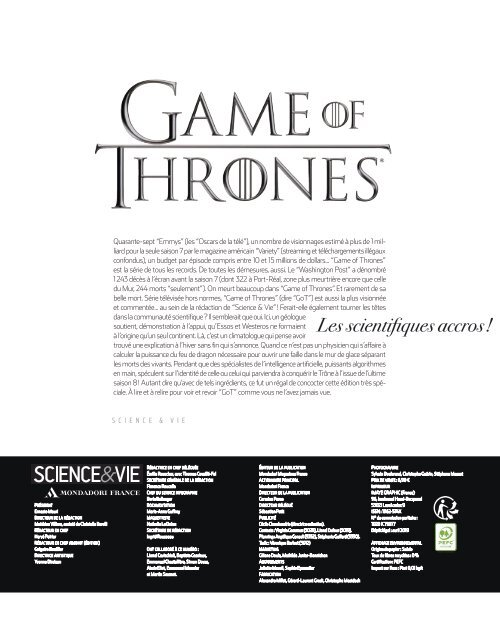 Science & Vie- Spécial Game of Thrones