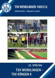 22. Spieltag TSV Wendlingen - TSV Köngen II
