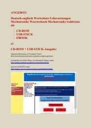 ebook-Ausgabe + CD-ROM-Ausgabe: Woerterbuch Mechatronik deutsch-englisch