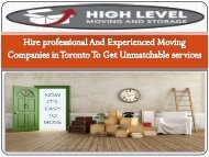 Hire professional And Experienced Moving Companies in Toronto To Get Unmatchable services