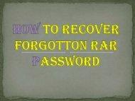 HOW TO RECOVER RAR PASSWORD?