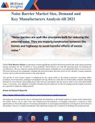 Noise Barrier Market Size, Demand and Key Manufacturers Analysis till 2021