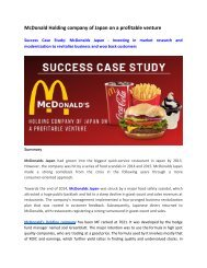 Success Case Study_ McDonald Holding company of Japan on a profitable venture